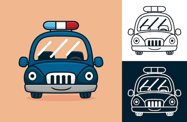 재미있는 경찰차. 평면 아이콘 스타일의 만화 그림