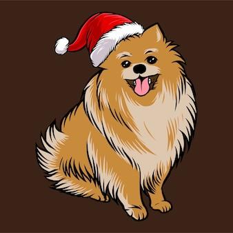 Смешная померанская собака в рождественском костюме санта клауса