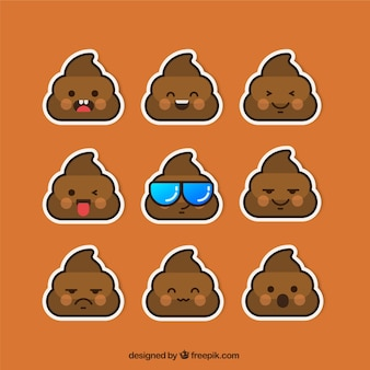 Funny poop sticker collection