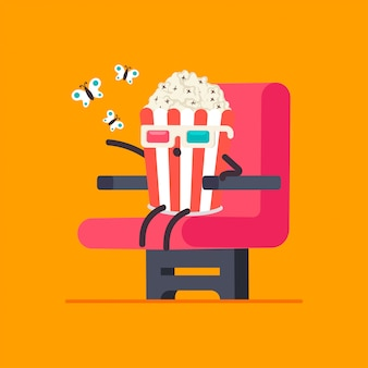 Funny popcorn in 3d glasses in cinema chair vector cartoon character isolated.