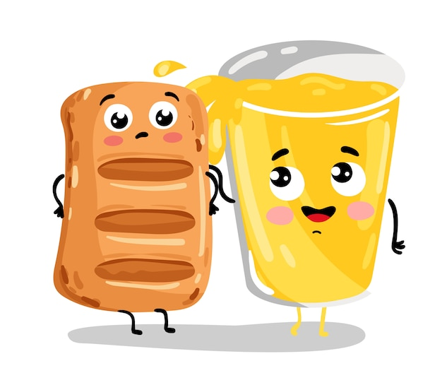 Funny puff pastry and lemonade cartoon characters