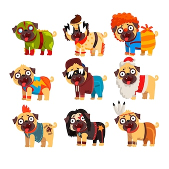 Funny pug dog character in colorful funny costumes set,