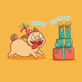 생일 선물 상자와 함께 재미있는 퍼그 개. 생일 축하 카드