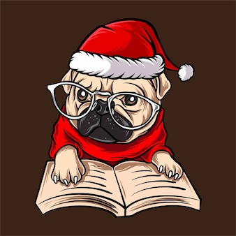 Funny pug dog with glasses wearing santa claus christmas costume