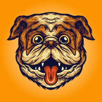 Funny pug head dog vector illustrations for your work logo, mascot merchandise t-shirt, stickers and label designs, poster, greeting cards advertising business company or brands.