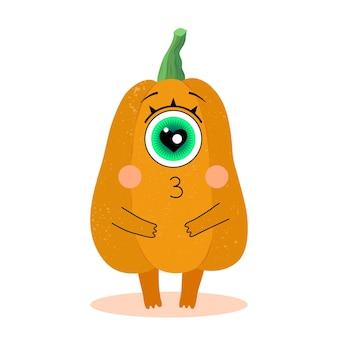 Забавный персонаж тыквы в плоском стиле love halloween