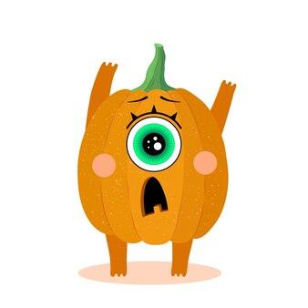 Забавный персонаж тыквы с пугающей гримасой хэллоуин