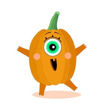 Забавный персонаж тыквы с удивленной гримасой хэллоуин