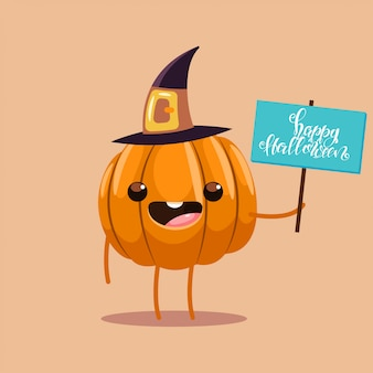 Funny pumpkin in a witch costume cartoon character isolated