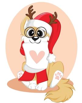 Забавный щенок в подарочных коробках. получение рождественской открытки.