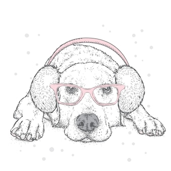 Забавный щенок в зимних наушниках. векторная иллюстрация.