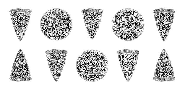 Смешные цитаты на наборе пиццы ломтики черно-белый рисунок. элементы дизайна вектор для футболок, сумок, плакатов, открыток, наклеек и меню