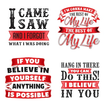 Funny quote and saying set