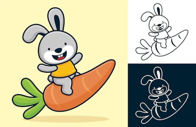 재미있는 토끼는 큰 당근에 앉아있다. 평면 아이콘 스타일의 만화 그림