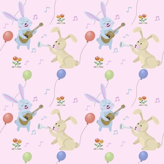 Funny rabbits with musical instruments seamless pattern.