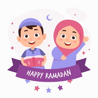 Funny ramadan kareem greeting card with cute kid character and happy children enjoying celebrate the holy month. Premium Vector