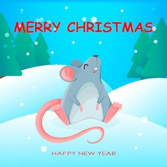 Funny rat cartoon character.