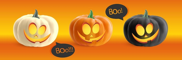 Funny realistic pumpkin with cartoon smile face isolated on orange background vector illustration
