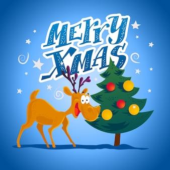 Смешной портрет персонажа оленей. . рождественские элементы декора. с рождеством и новым годом карта.