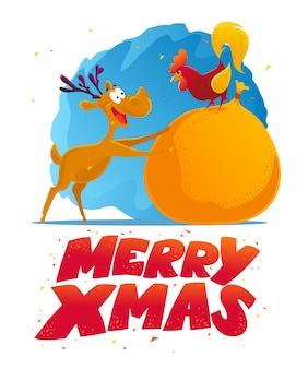 Funny reindeer and rooster character portrait. . xmas decoration  elements. merry christmas and happy new year card .