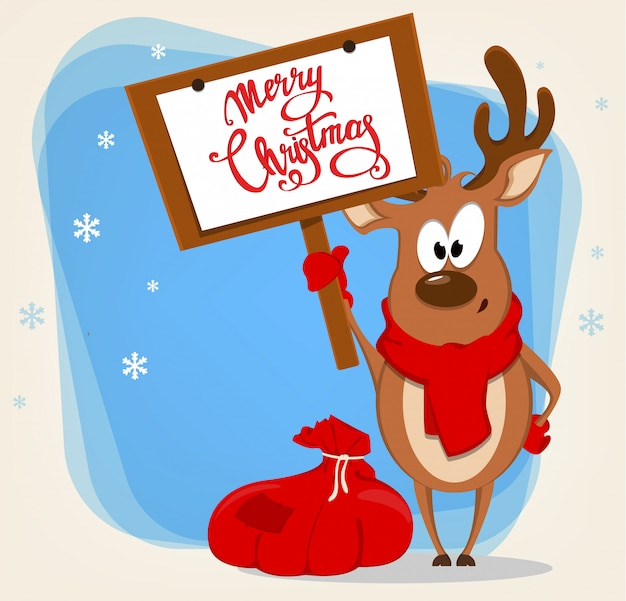 Funny reindeer standing near bag with presents