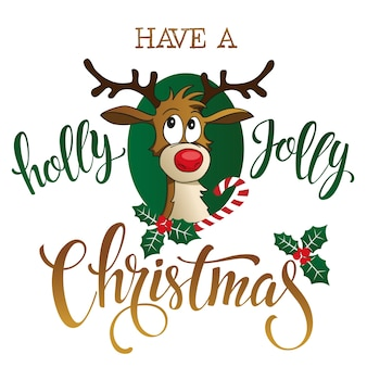 Funny reindeer on white background