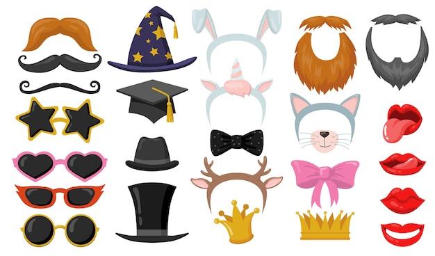 面白いレトロなプリクラパーティーフラット要素セット。漫画のヘッドバンド、猫の耳、眼鏡、帽子、フェイスマスク分離ベクトルイラストコレクション。カーニバルアクセサリーと楽しいコンセプト