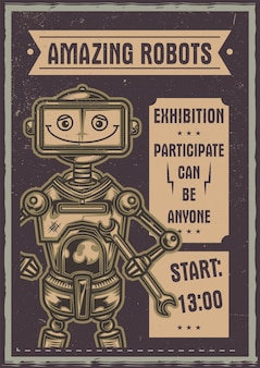 Funny robot illustration poster