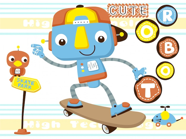 Funny robot playing skateboard