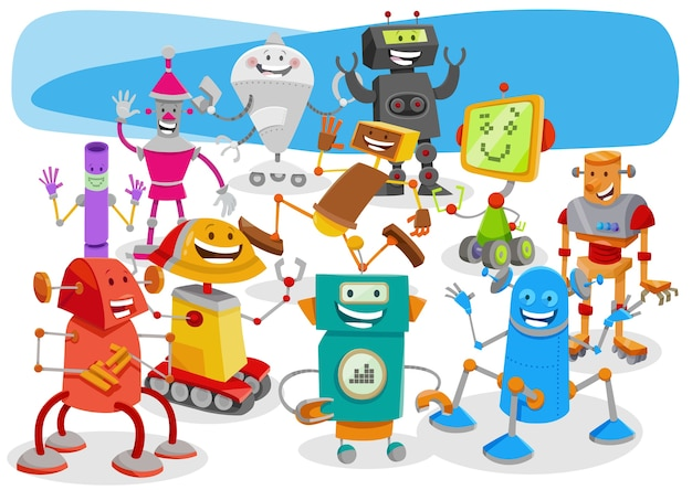 Funny robots cartoon fantasy characters group