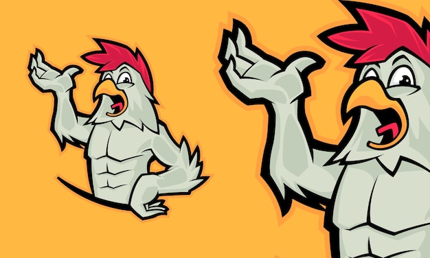 Забавный петух премиум логотип талисман векторная иллюстрация