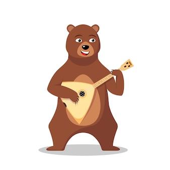 Забавный русский медведь играет на балалайке. мультипликационный персонаж. плоский стиль иллюстрации.