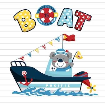 Funny sailor cartoon vector on little boat