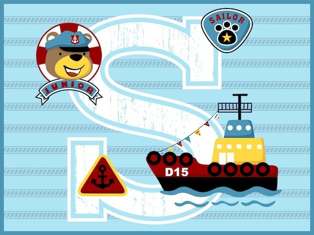 Смешной матрос голову мультфильм с небольшим кораблем на фоне полосатой веревки
