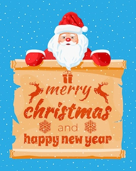 Funny santa claus character greeting. santa head and scroll with text. happy new year decoration. merry christmas holiday. new year and xmas celebration. vector illustration in flat style