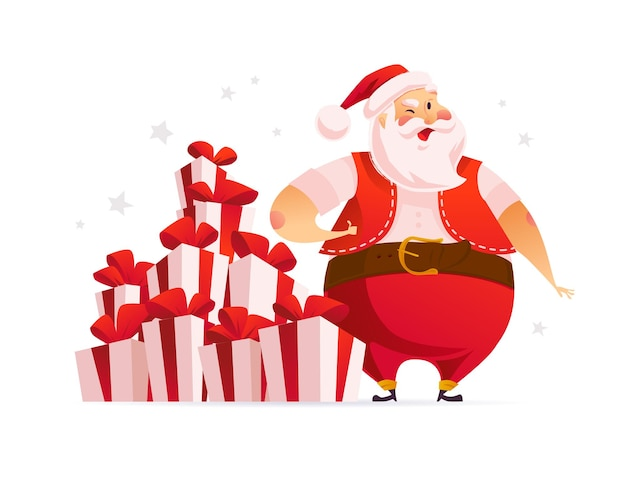 クリスマスのギフトボックスとプレゼントの大きな山の近くに面白いサンタクロースのキャラクターが孤立しています。ベクトルフラット漫画イラスト。タグ、バナー、カード、セールポスター、広告、ウェブ用。