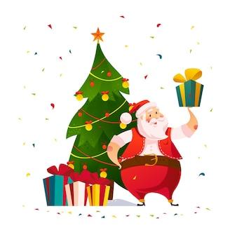孤立した装飾されたクリスマスツリーのギフトボックスと面白いサンタクロースのキャラクター。ベクトルフラット漫画イラスト。タグ、バナー、カード、ポスター、広告、ウェブ用。