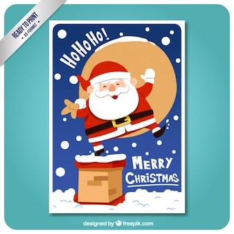 Funny santa claus on a chimney card