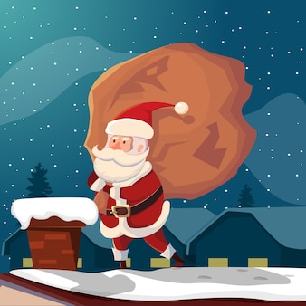 Funny santa claus on roof illustration
