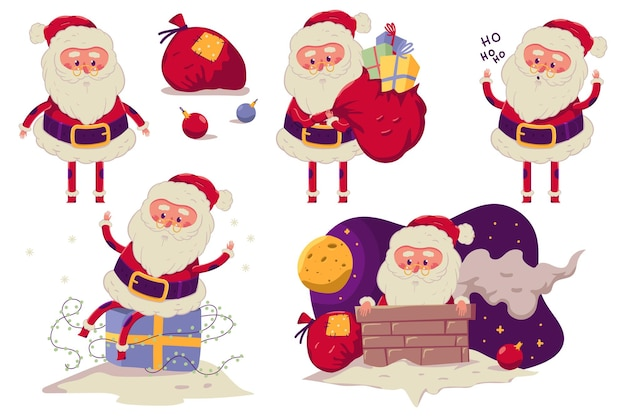 Funny santa claus vector cartoon characters set isolated on a white background.