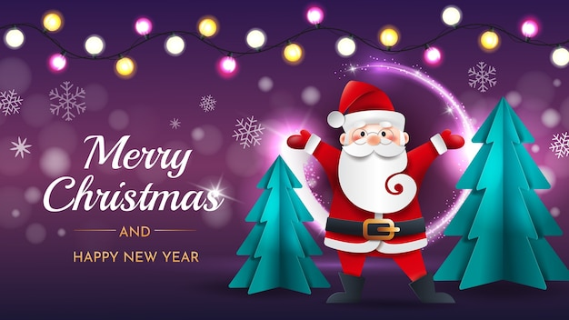 Funny santa claus with christmas trees and garland on a purple background.