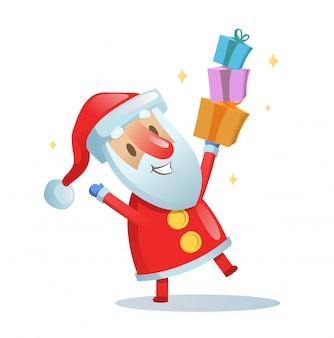 재미있는 산타 춤. 만화 크리스마스 카드입니다. 삽화. 흰색 바탕에.