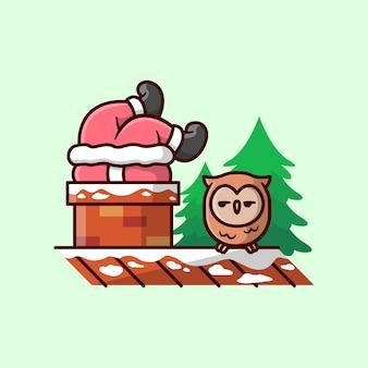 웃긴 산타는 chimney에 꽂혀 있고 올빼미는 웃긴 표정으로 그를 봅니다.
