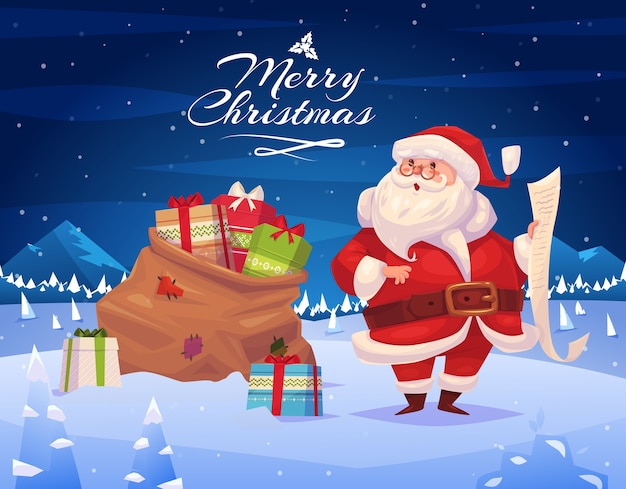 プレゼント付きの面白いサンタ。クリスマスグリーティングカードの背景ポスター。