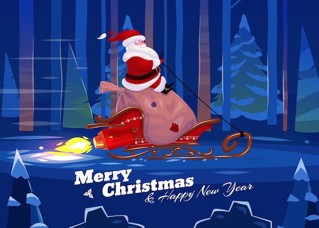 Funny santa with presents on the rocket sled . christmas greeting card background poster.