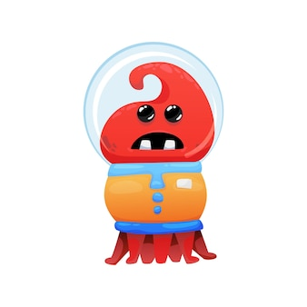 Funny scared red alien in spacesuit cartoon