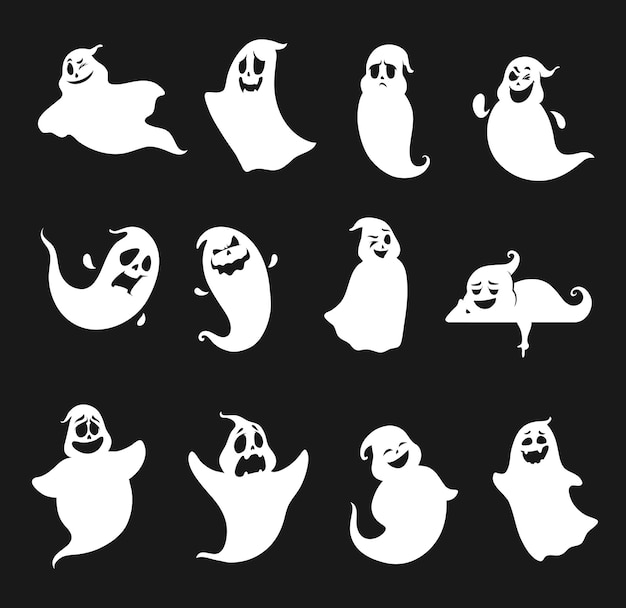 Funny and scary halloween ghosts silhouettes set