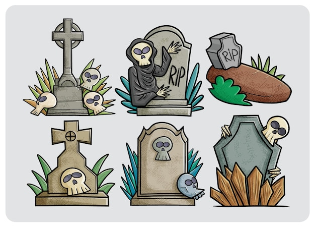 Funny and scary tombstone collection in cartoon style