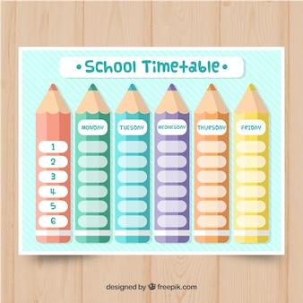 Смешной шаблон расписания для школы с плоским дизайном