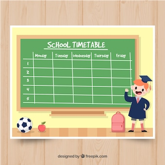 Funny school timetable template with flat design
